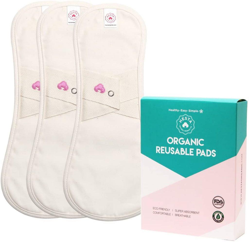 Hesta Organic Cotton Reusable Cloth Menstrual Pads