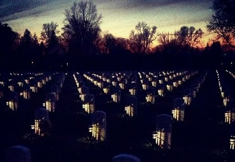 Solar Cemetery memorial lights