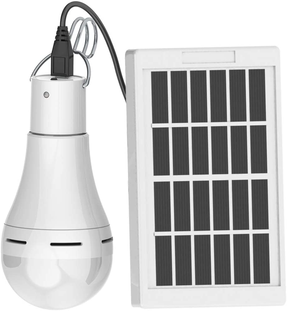 Flyhoom Portable Solar LED Light Bulb FL400 1 Emergency Lamp for Outdoor Indoor Camping Power Outage 7W 420lm White Pack of 1