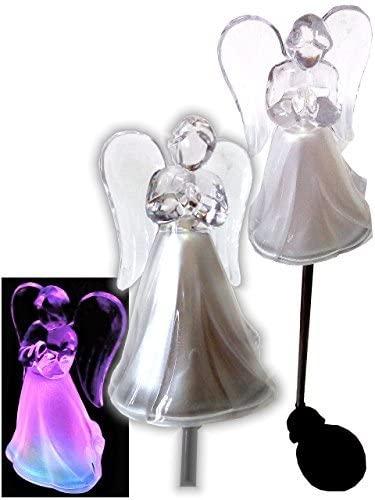 Solar Powered Angel Color Change Lights Set of 2