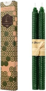 100 Pure Beeswax Handmade Taper Candles 10 Inch Dripless Pair Natural Subtle Honey Smell Avacodo Green 1