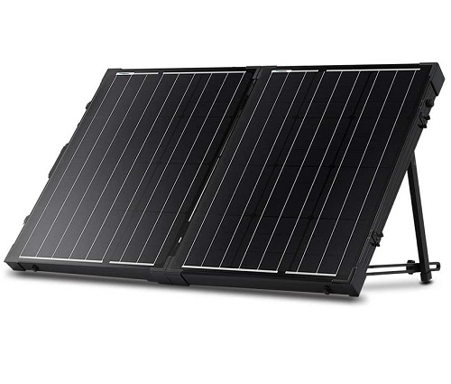 Renogy 100 Watt 12 Volt Monocrystalline Off Grid Portable Foldable 2Pcs 50W Solar Panel Suitcase Built in Kickstand with Waterproof 20A Charger Controller
